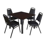 "Regency Kee 48"" Square Breakroom Table- Mocha Walnut/ Black and 4 Restaurant Stack Chairs- Black (TB4848MWPBK29BK)"