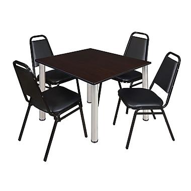Regency – Table carrée Kee de 48 po pour salle de pause, noyer moka/chrome et 4 chaises empilables, noir (TB4848MWPCM29BK)