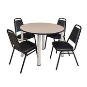 "Regency Kee 48"" Round Breakroom Table- Beige/ Chrome and 4 Restaurant Stack Chairs- Black (TB48RDBEPCM29BK)"