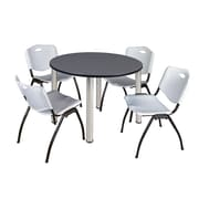 "Regency Kee 48"" Round Breakroom Table- Grey/ Chrome and 4 'M' Stack Chairs- Grey (TB48RDGYPCM47GY)"