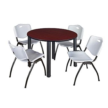 Regency – Table de salle de pause ronde Kee de 48 po, acajou et noir, avec 4 chaises empilables M, gris (TB48RDMHPBK47GY)