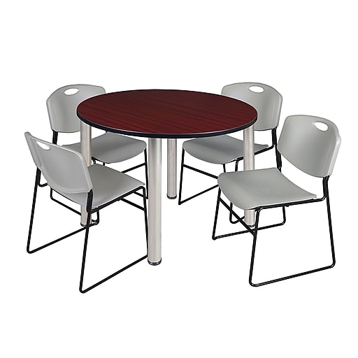 """Regency Kee 48"""" Round Breakroom Table- Mahogany/ Chrome and 4 Zeng Stack Chairs- Grey (TB48RDMHPCM44GY)"""