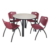 "Regency Kee 48"" Round Breakroom Table- Maple/ Black and 4 'M' Stack Chairs- Burgundy (TB48RDPLPBK47BY)"