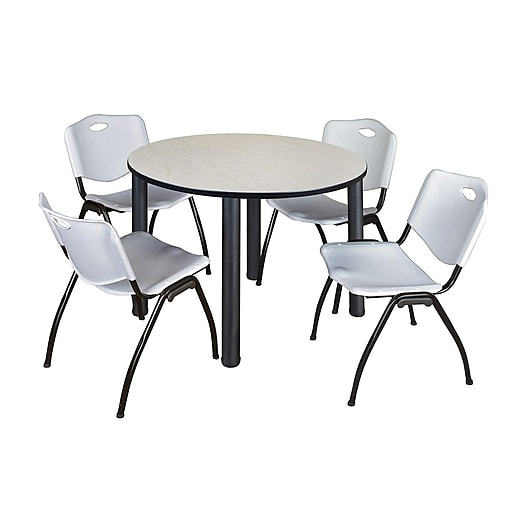 regency kee 48 round breakroom table maple black and 4 39 m 39 stack chairs grey. Black Bedroom Furniture Sets. Home Design Ideas