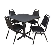 "Regency Cain 36"" Square Breakroom Table- Grey and 4 Restaurant Stack Chairs- Black (TB3636GY29BK)"