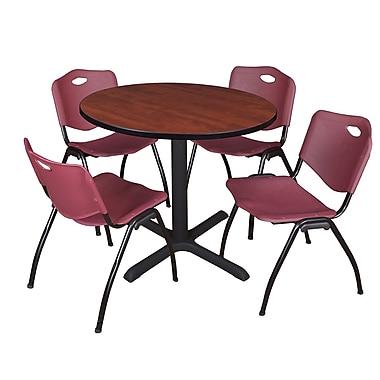Regency – Table de salle de pause ronde Cain de 36 po, cerisier, avec 4 chaises empilables M, bourgogne (TB36RNDCH47BY)