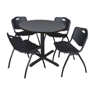 """Regency Cain 36"""" Round Breakroom Table- Grey and 4 'M' Stack Chairs- Black (TB36RNDGY47BK)"""