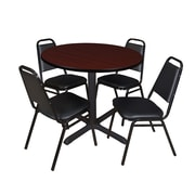 "Regency Cain 36"" Round Breakroom Table- Mahogany and 4 Restaurant Stack Chairs- Black (TB36RNDMH29BK)"