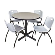 "Regency Cain 36"" Round Breakroom Table- Maple and 4 'M' Stack Chairs- Grey (TB36RNDPL47GY)"