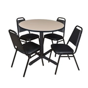 """Regency Cain 42"""" Round Breakroom Table- Beige and 4 Restaurant Stack Chairs- Black (TB42RNDBE29BK)"""