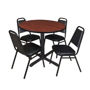 "Regency Cain 42"" Round Breakroom Table- Cherry and 4 Restaurant Stack Chairs- Black (TB42RNDCH29BK)"