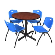 """Regency Cain 42"""" Round Breakroom Table- Cherry and 4 'M' Stack Chairs- Blue (TB42RNDCH47BE)"""