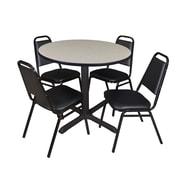 "Regency Cain 42"" Round Breakroom Table- Maple and 4 Restaurant Stack Chairs- Black (TB42RNDPL29BK)"