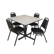 """Regency Cain 48"""" Square Breakroom Table- Maple and 4 Restaurant Stack Chairs- Black (TB4848PL29BK)"""