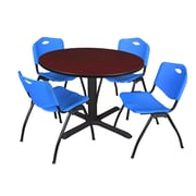 """Regency Cain 48"""" Round Breakroom Table- Mahogany and 4 'M' Stack Chairs- Blue (TB48RNDMH47BE)"""