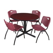 """Regency Cain 48"""" Round Breakroom Table- Mahogany and 4 'M' Stack Chairs- Burgundy (TB48RNDMH47BY)"""