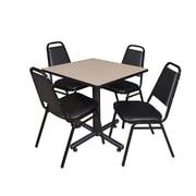 "Regency Kobe 30"" Square Breakroom Table- Beige and 4 Restaurant Stack Chairs- Black (TKB3030BE29BK)"