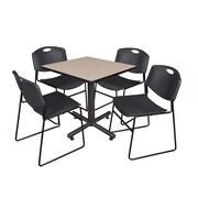 "Regency Kobe 30"" Square Breakroom Table- Beige and 4 Zeng Stack Chairs- Black (TKB3030BE44BK)"