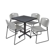 """Regency Kobe 30"""" Square Breakroom Table- Grey and 4 Zeng Stack Chairs- Grey (TKB3030GY44GY)"""