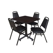 "Regency Kobe 30"" Square Breakroom Table- Mocha Walnut  and 4 Restaurant Stack Chairs- Black (TKB3030MW29BK)"