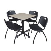 "Regency Kobe 30"" Square Breakroom Table- Maple and 4 'M' Stack Chairs- Black (TKB3030PL47BK)"