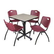 "Regency Kobe 30"" Square Breakroom Table- Maple and 4 'M' Stack Chairs- Burgundy (TKB3030PL47BY)"