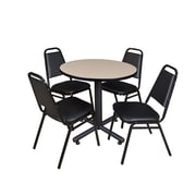 "Regency Kobe 30"" Round Breakroom Table- Beige and 4 Restaurant Stack Chairs- Black (TKB30RNDBE29BK)"