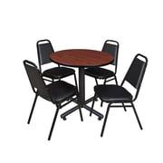 "Regency Kobe 30"" Round Breakroom Table- Cherry and 4 Restaurant Stack Chairs- Black (TKB30RNDCH29BK)"