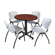 """Regency Kobe 30"""" Round Breakroom Table- Cherry and 4 'M' Stack Chairs- Grey (TKB30RNDCH47GY)"""