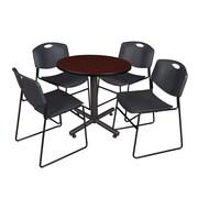 "Regency Kobe 30"" Round Breakroom Table- Mahogany and 4 Zeng Stack Chairs- Black (TKB30RNDMH44BK)"