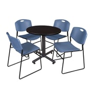 "Regency Kobe 30"" Round Breakroom Table- Mocha Walnut  and 4 Zeng Stack Chairs- Blue (TKB30RNDMW44BE)"