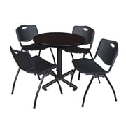 "Regency Kobe 30"" Round Breakroom Table- Mocha Walnut  and 4 'M' Stack Chairs- Black (TKB30RNDMW47BK)"