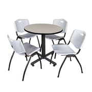 "Regency Kobe 30"" Round Breakroom Table- Maple and 4 'M' Stack Chairs- Grey (TKB30RNDPL47GY)"