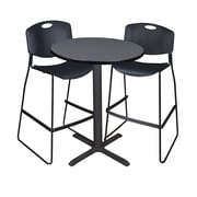 "Regency Cain 30"" Round Cafe Table- Grey and 2 Zeng Stack Stools- Black (TCB30RNDGY4495)"