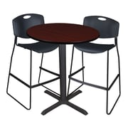 "Regency Cain 36"" Round Cafe Table- Mahogany and 2 Zeng Stack Stools- Black (TCB36RNDMH4495)"