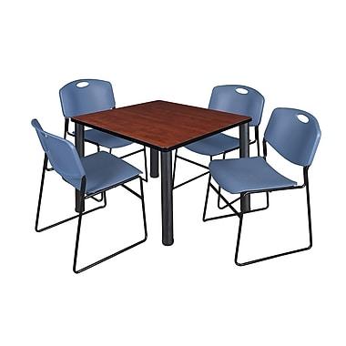 Regency – Table de salle de pause carrée Kee de 42 po, cerisier/noir, avec 4 chaises empilables Zeng, bleu (TB4242CHPBK44BE)