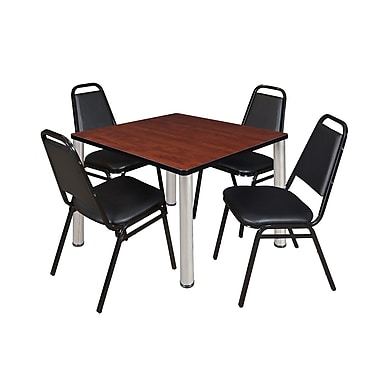 Regency – Table de salle de pause carrée Kee de 42 po, cerisier/chrome, 4 chaises empilables Restaurant, noir (TB4242CHPCM29BK)