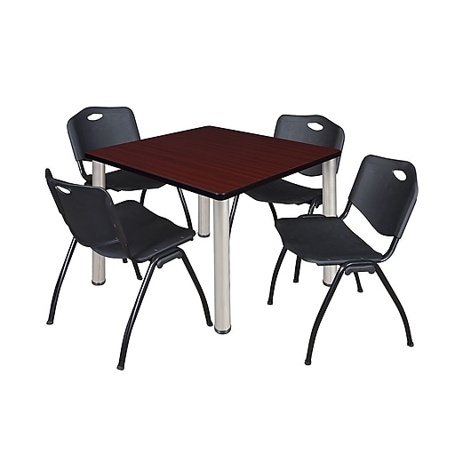"""Regency Kee 42"""" Square Breakroom Table- Mahogany/ Chrome and 4 'M' Stack Chairs- Black (TB4242MHPCM47BK)"""