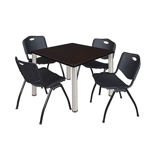 """Regency Kee 42"""" Square Breakroom Table- Mocha Walnut/ Chrome and 4 'M' Stack Chairs- Black (TB4242MWPCM47BK)"""
