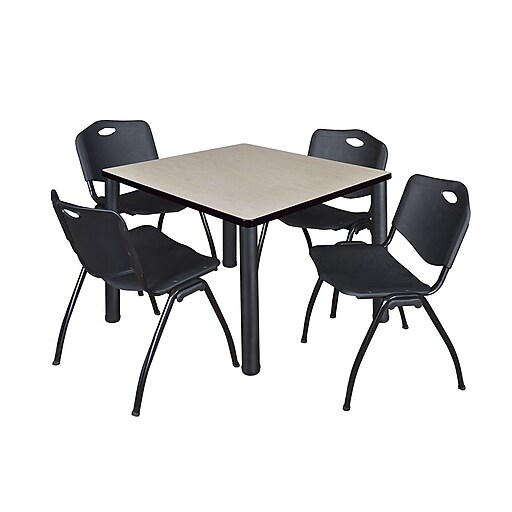 "Regency Kee 42"" Square Breakroom Table- Maple/ Black and 4 'M' Stack Chairs- Black (TB4242PLPBK47BK)"