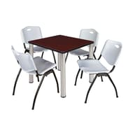 "Regency Kee 30"" Square Breakroom Table- Mahogany/ Chrome and 4 'M' Stack Chairs- Grey (TB3030MHPCM47GY)"