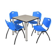 """Regency Kee 30"""" Square Breakroom Table- Maple/ Chrome and 4 'M' Stack Chairs- Blue (TB3030PLPCM47BE)"""