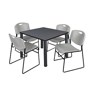 Regency – Table de salle de pause carrée Kee de 36 po, gris/noir, avec 4 chaises empilables Zeng, gris (TB3636GYPBK44GY)