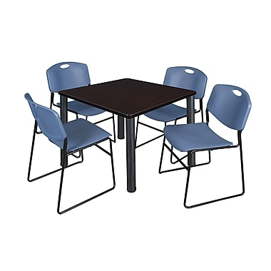 Regency – Table carrée Kee de 36 po, noyer moka/noir et 4 chaises empilables Zeng, bleu (TB3636MWPBK44BE)