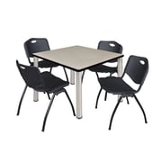 "Regency Kee 36"" Square Breakroom Table- Maple/ Chrome and 4 'M' Stack Chairs- Black (TB3636PLPCM47BK)"