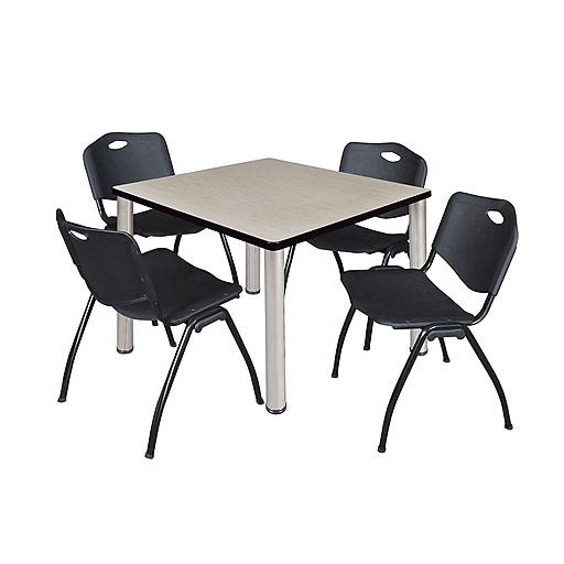 """Regency Kee 36"""" Square Breakroom Table- Maple/ Chrome and 4 'M' Stack Chairs- Black (TB3636PLPCM47BK)"""