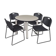 """Regency Kee 42"""" Round Breakroom Table- Maple/ Chrome and 4 Zeng Stack Chairs- Black (TB42RDPLPCM44BK)"""