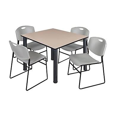 Regency – Table de salle de pause carrée Kee de 48 po, beige/noir, avec 4 chaises empilables Zeng, gris (TB4848BEPBK44GY)