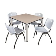 "Regency Kee 48"" Square Breakroom Table- Beige/ Chrome and 4 'M' Stack Chairs- Grey (TB4848BEPCM47GY)"