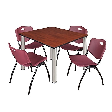 Regency – Table de salle de pause carrée Kee de 48 po, cerisier/chrome, 4 chaises empilables M, bourgogne (TB4848CHPCM47BY)